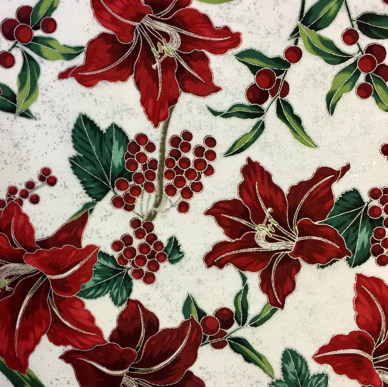 Red Green poinsettas on cream