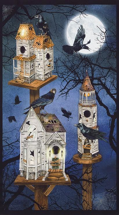 Ravens birdhouse moon panel