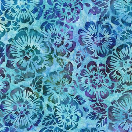 Bright medium blue w purple green and teal flowers
