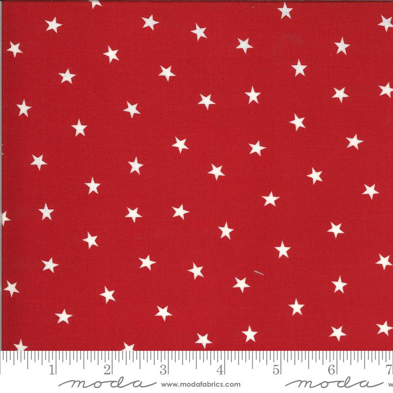 Scarlet Red w White Stars