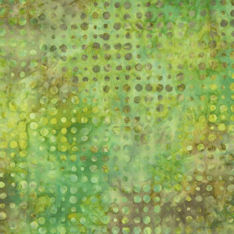 Green Brown Batik w Dots