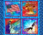 Panel Lady Liberty, flag, bell