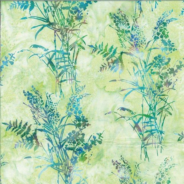Teal plants on green batik