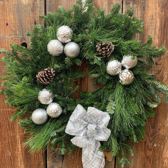 Sparkling Silver Decorated Wreath