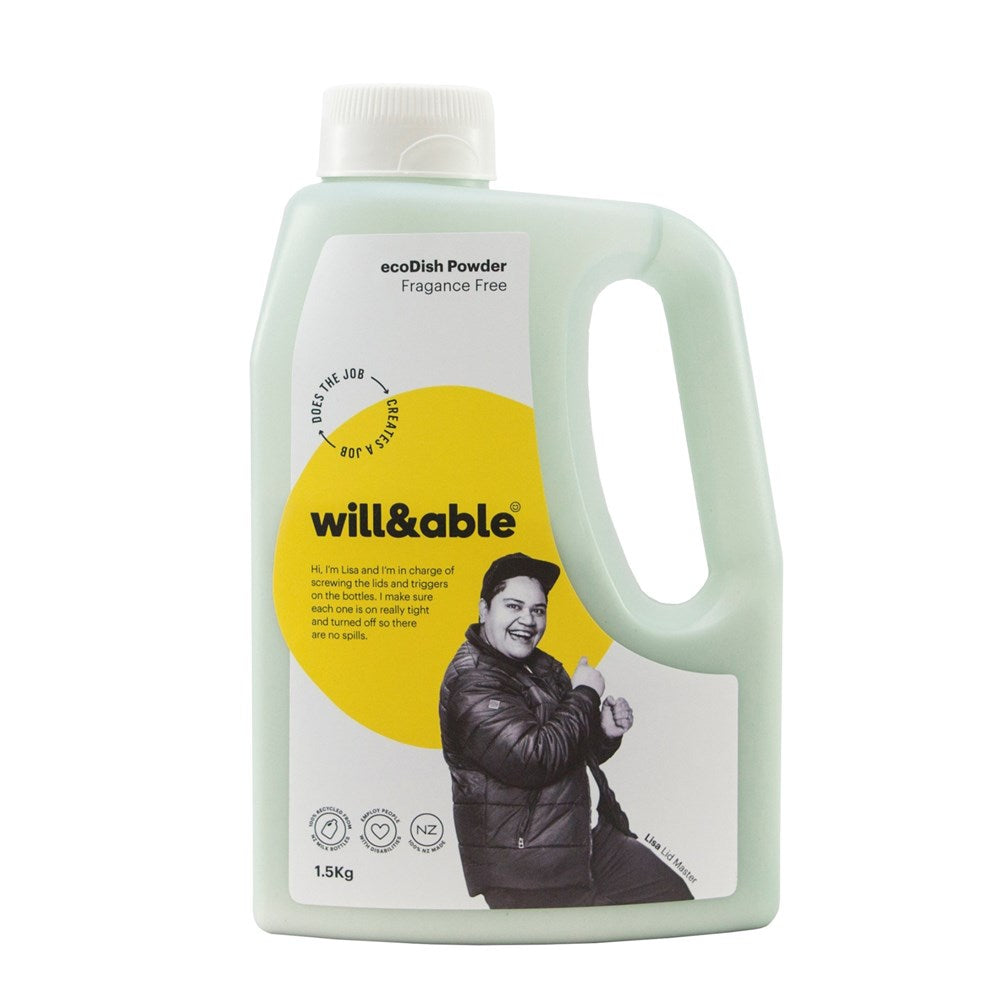 Will&Able ecoDish Powder Fragrance Free 1.5kg