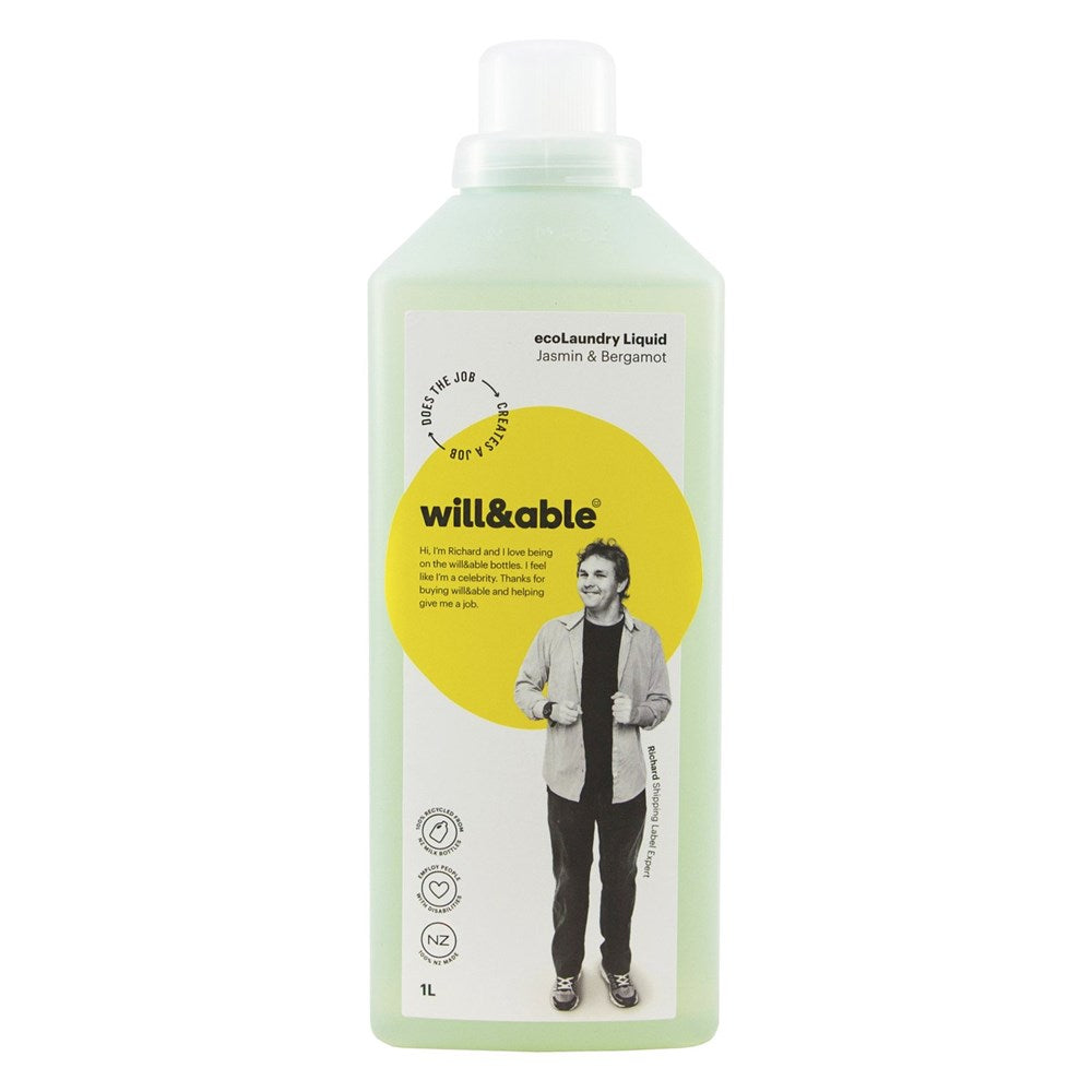 Will&Able ecoLaundry Liquid Jasmin & Bergamot 1L