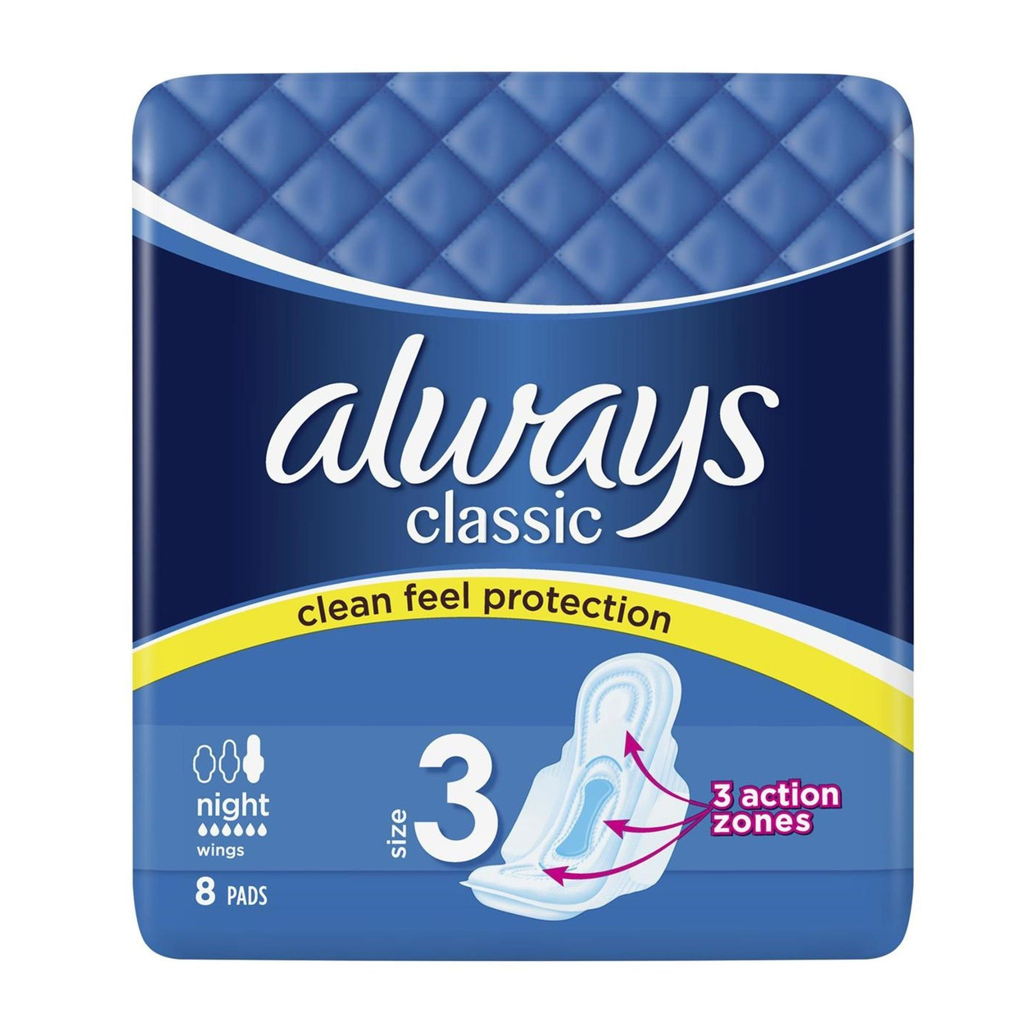 Always Sanitary Pads Classic Night with Wings 8Pk