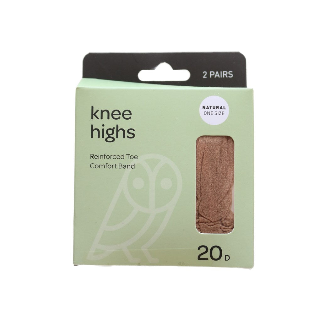Pricewise Knee Highs One Size Natural 20D 2pk