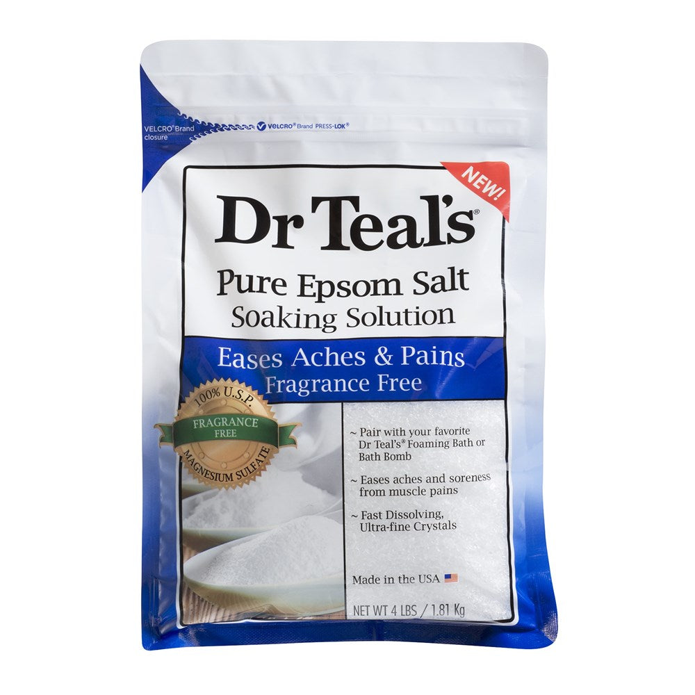 Dr Teal's Eases Aches & Pains Fragrance Free Pure Epsom Salt Soaking Solution 1.81kg