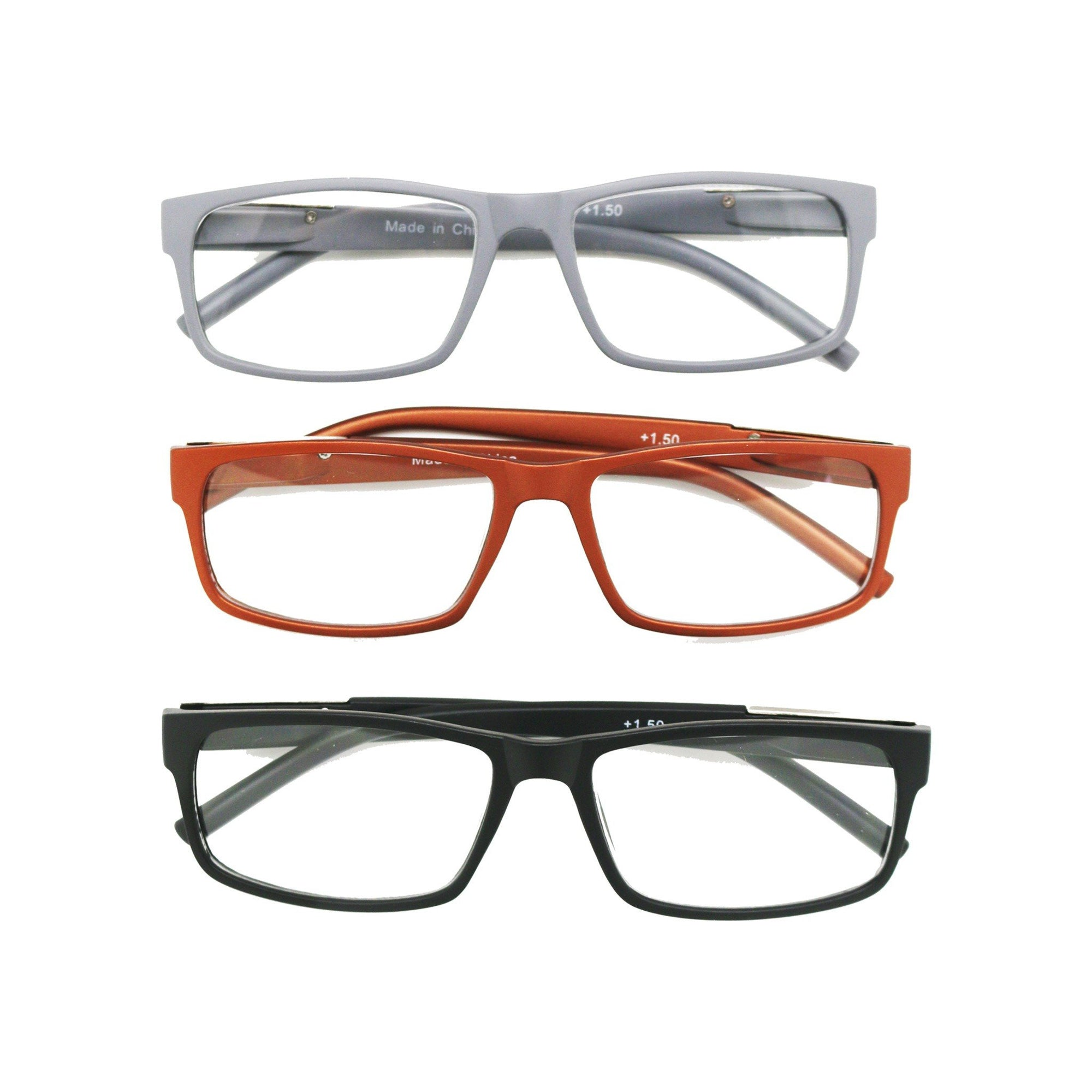 Casa Mens Reading Glasses +2.0 Magnification 3pk