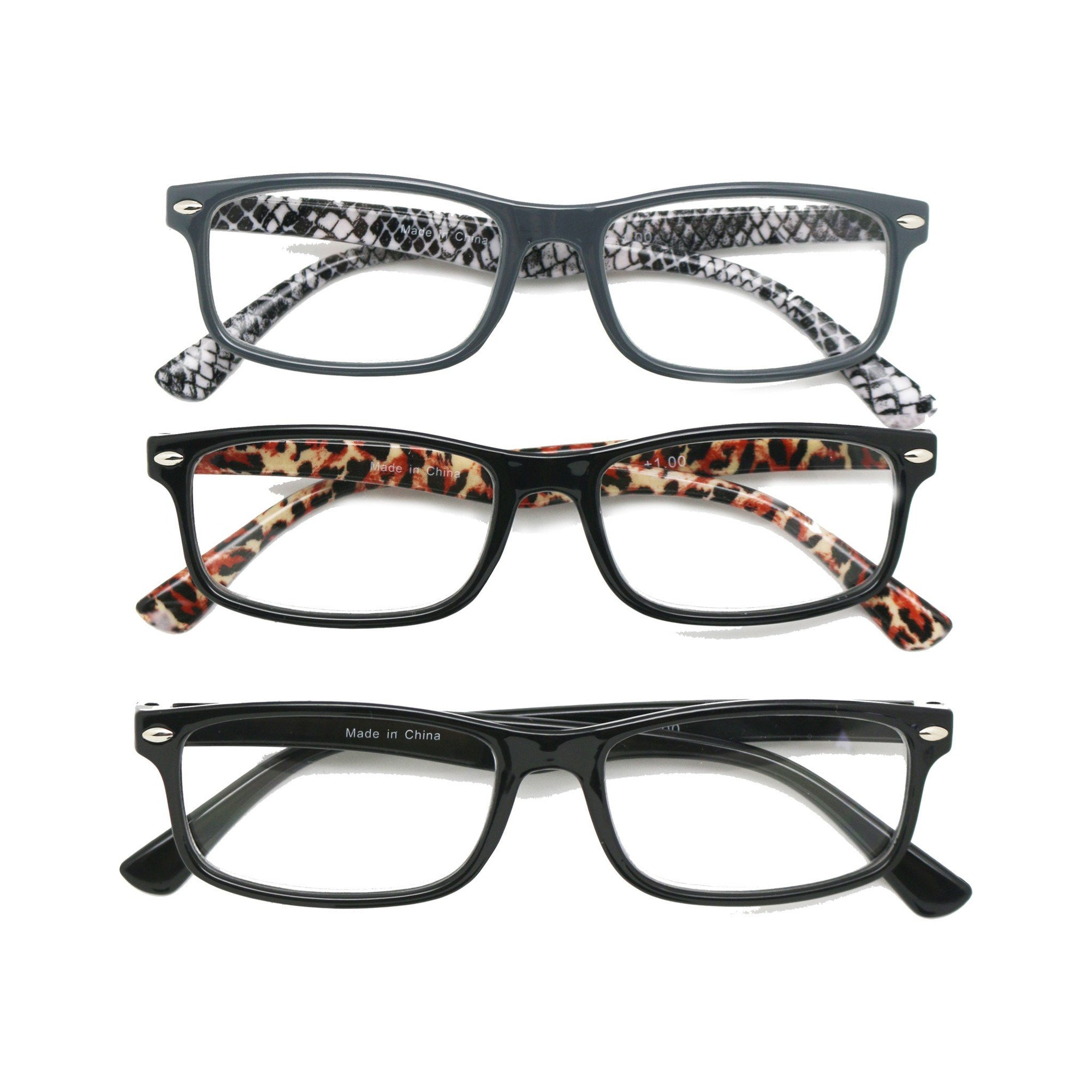Casa Womens Reading Glasses +2.0 Magnification 3pk