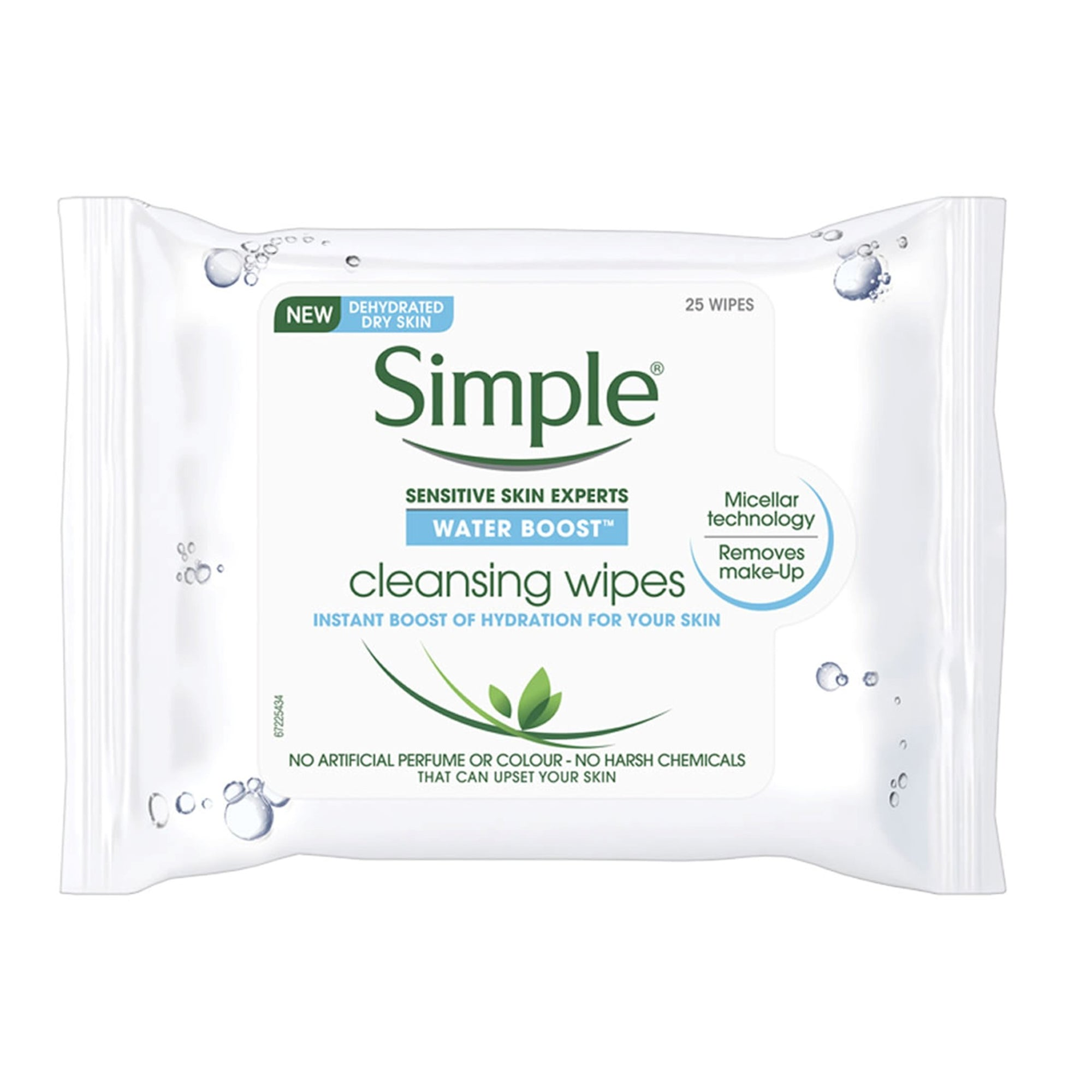 Simple Water Boost Cleansing Wipes 25Pk