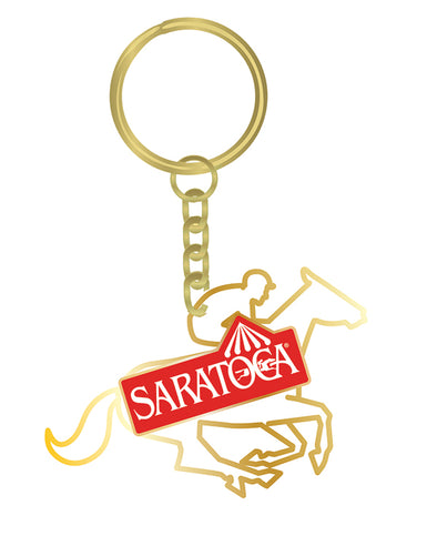 Saratoga Race Course Horse Silhouette Key Ring