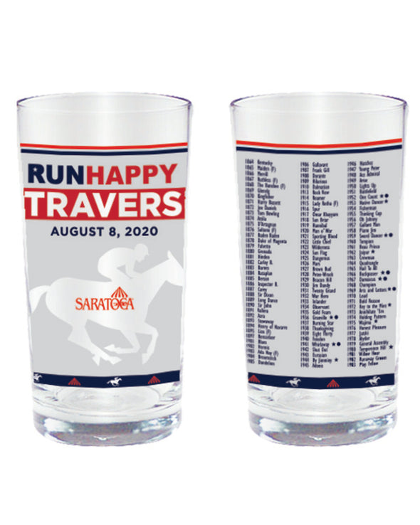 2020 Runhappy Travers Stakes Official Glass