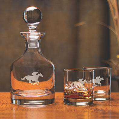 Saratoga Horse Classic Whiskey Decanter Set Clear