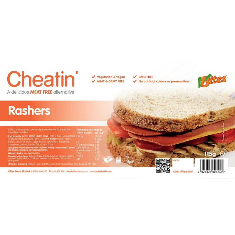 STREAKY STYLE RASHERS MEAT-FREE 115GR - DeGusta Grocery Home Delivery