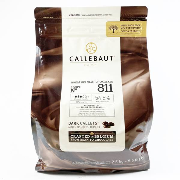 CALLEBAUT 54.5% DARK CALLETS PLAIN 811  2.5KG - DeGusta Grocery Home Delivery
