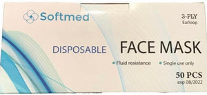 Softmed - Disposable Face Mask Box of 50  -Level 3 -3 Ply TGA Approved