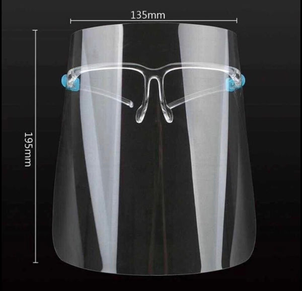 Face Shield with Glass Frames - Transparent Face Shield with Visor