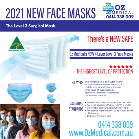 Multi layered surgical disposable masks Soft ear loop Adjustable nose clip - 4 Layer Level 3 Australian Made TGA Approved
