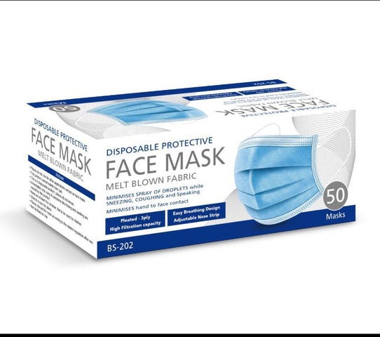 $19 Face Masks on Special -Level 1 TGA Approved - Box of 50 - On Special