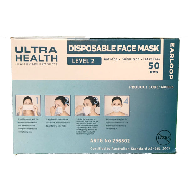 Ultra Health Face Masks - From $45 (box of 50) TGA Approved