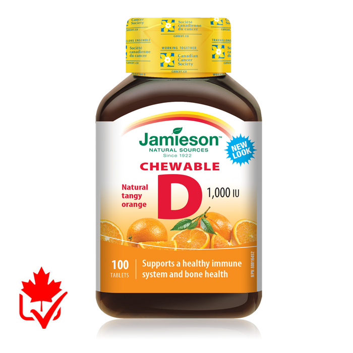 Jamieson Vitamin D 1,000IU Chewable 100 Tabs