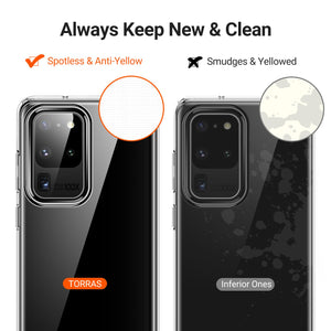 TORRAS Crystal Clear Designed for Samsung Galaxy S20 Ultra Case, [Anti-Yellowing] Soft Shockproof - TORRAS