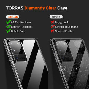 TORRAS Ultra Clear Designed for Samsung Galaxy S20 Ultra Case, Hard Plastic Back & Soft TPU Edge - TORRAS