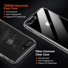 Load image into Gallery viewer, TORRAS Diamonds Clear iPhone 8/7 Plus Case, Anti-Yellowing[Fully Protective] Slim Fit Hard Plastic - TORRAS