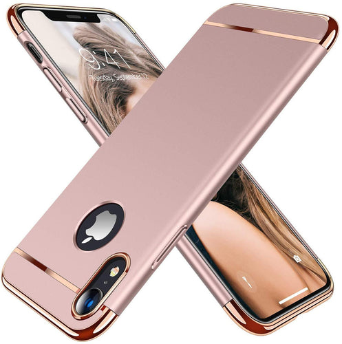 TORRAS Lock Series iPhone XR Case, 3-in-1 Luxury Hybrid Hard Plastic with Gold Trim Matte - TORRAS