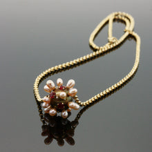 Load image into Gallery viewer, Ruby and Pearl Thistle Necklace on 14k Gold Chain