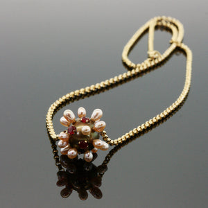 Ruby and Pearl Thistle Necklace on 14k Gold Chain