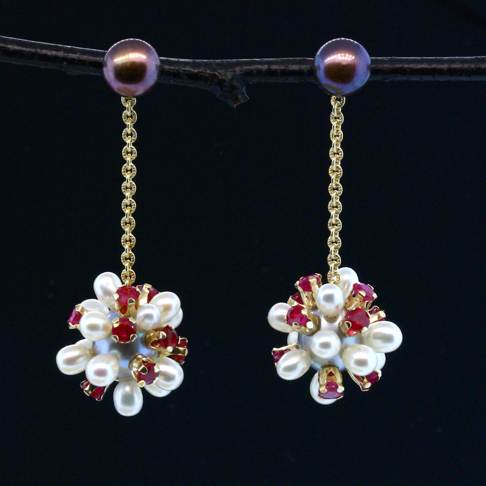 Ruby and Pearl Thistle Jacket Earrings