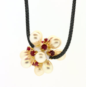 Ruby and Pearl Thistle Necklace