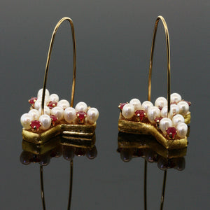 Mica and Pearl Thistle Earrings