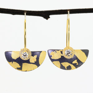 Small Oxidized Sterling and Goldleaf Earrings