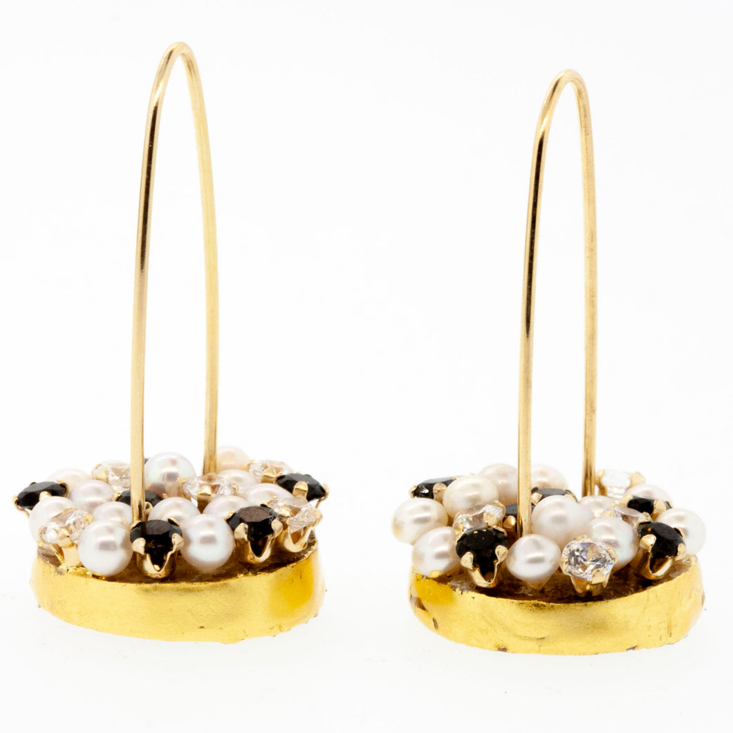 Pearl & Black Spinel Thistles with Cubic Zirconia