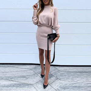 Elegant Turtleneck Sexy Backless Pink Bodycon