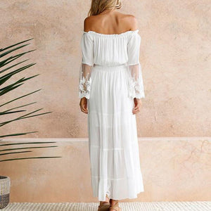 Long Sleeve Sexy Off Shoulder Lace Maxi Dress