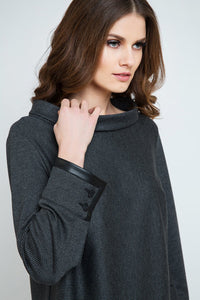 Pleather Detail Long Sleeve Top