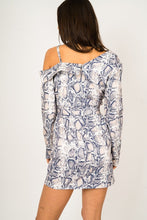 Load image into Gallery viewer, Grey One Shoulder Snake Print Wrap Dress