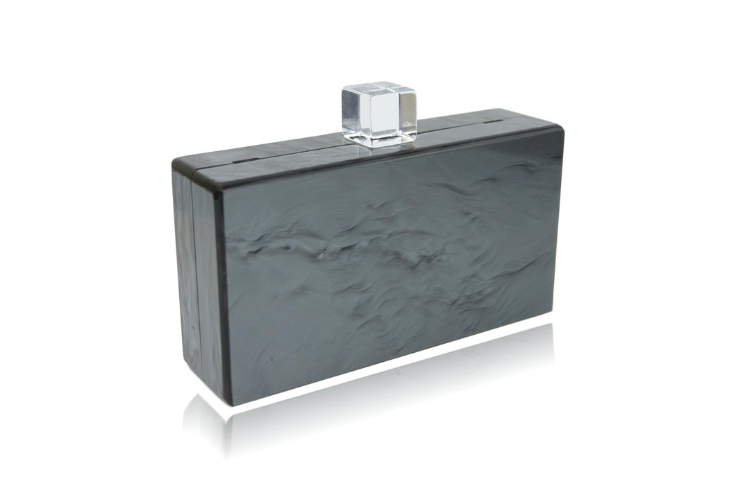 Metallic Charcoal Acrylic Box Clutch