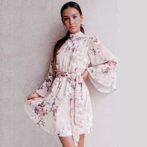 Floral Chiffon Backless Tie up Beach Dress