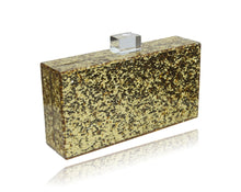 Load image into Gallery viewer, Gold Glitter Birde Acrylic Clutch