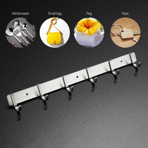 Hook Rail 6 Hooks Wall Rails Stainless Steel Home