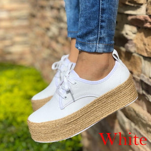 Woman Canvas Flats Casual Lace-Up Loafers