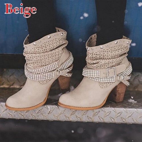 Women Boots High Heels Shoes For Female