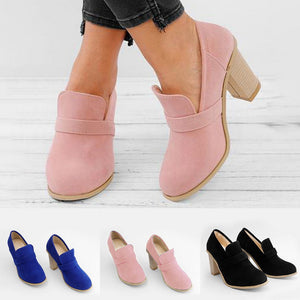 Women's chunky High Heel Solid Color