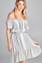 Load image into Gallery viewer, OFF THE SHOULDER DRESS WITH RUFFLE DETAIL